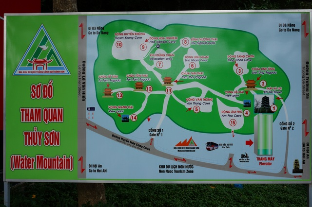 Мраморные горы в Дананге (Вьетнам) карта пещер