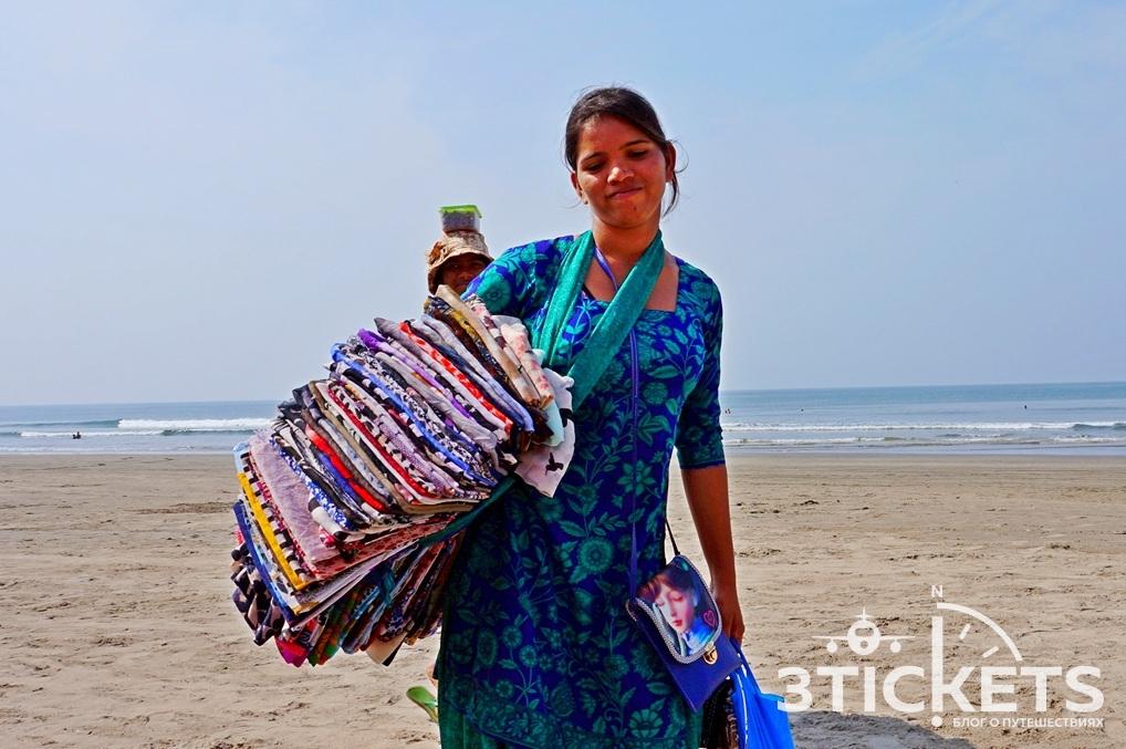 Продавцы на пляже в Гоа
