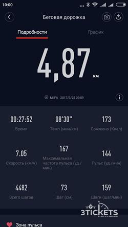 Режим бега на Xiaomi Mi Band