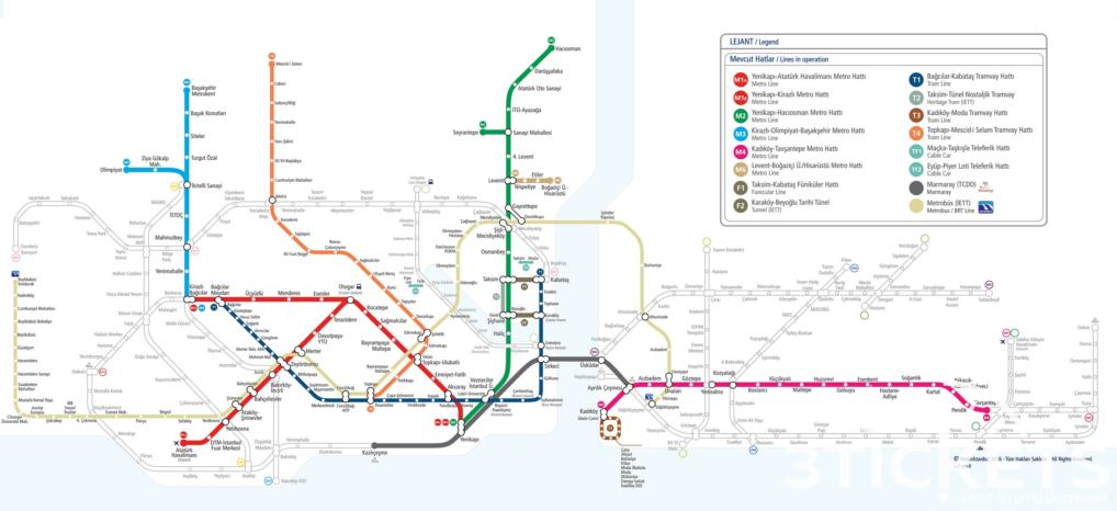 Карта метро в Стамбуле