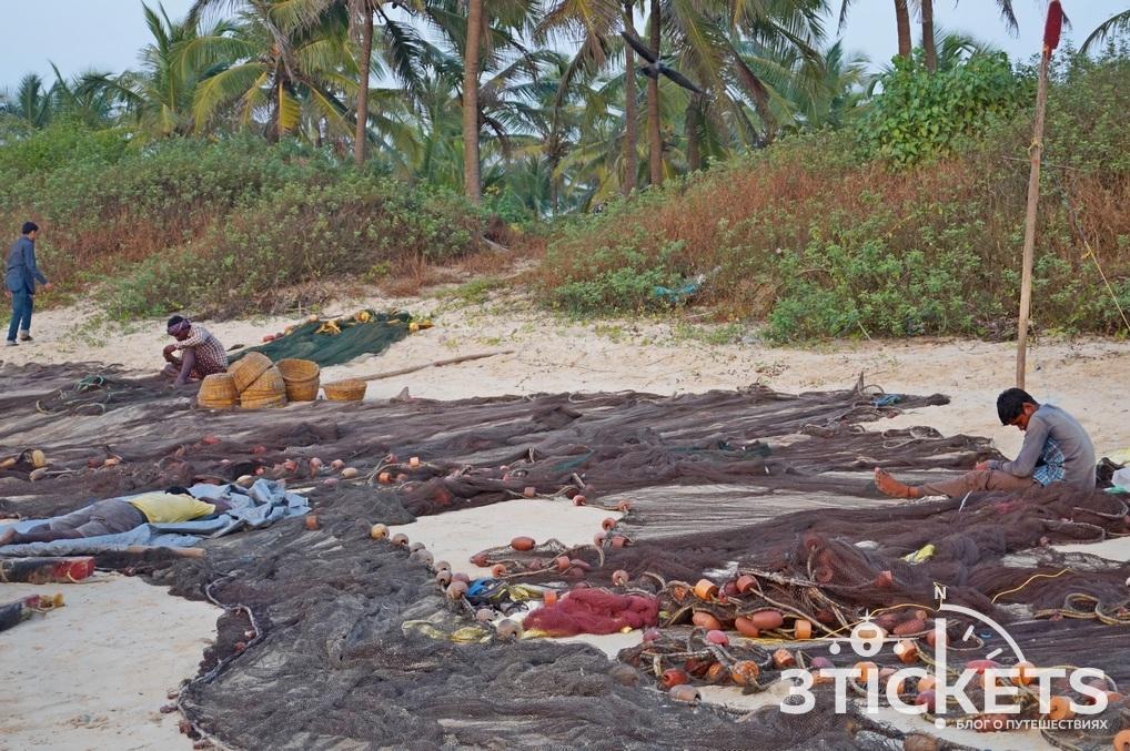 Пляж Колва, Южное Гоа, рыбацкий поселок