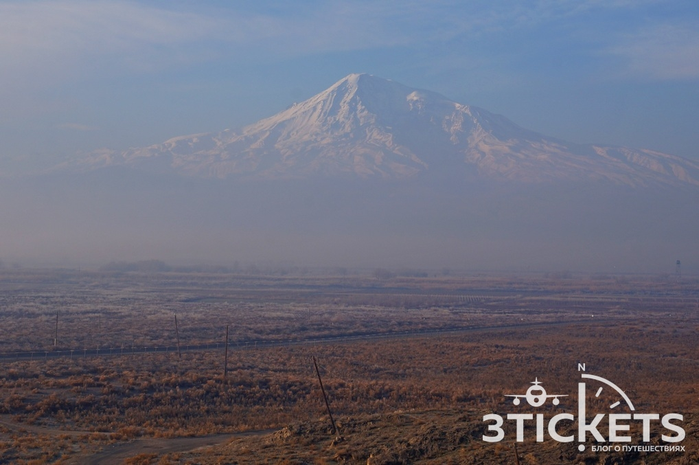 Гора Арарат и граница Армении с Турцией