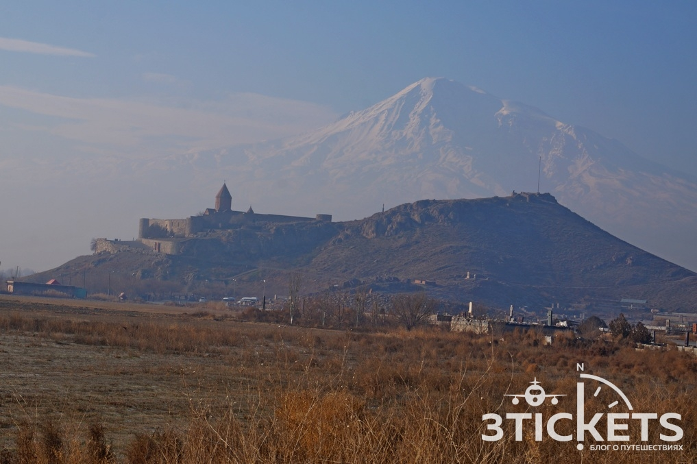 Монастырь Хор Вирап и гора Арарат в Армении
