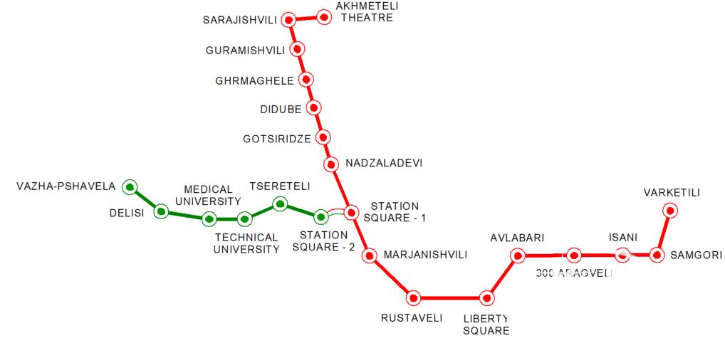 Карта станций метро в Тбилиси