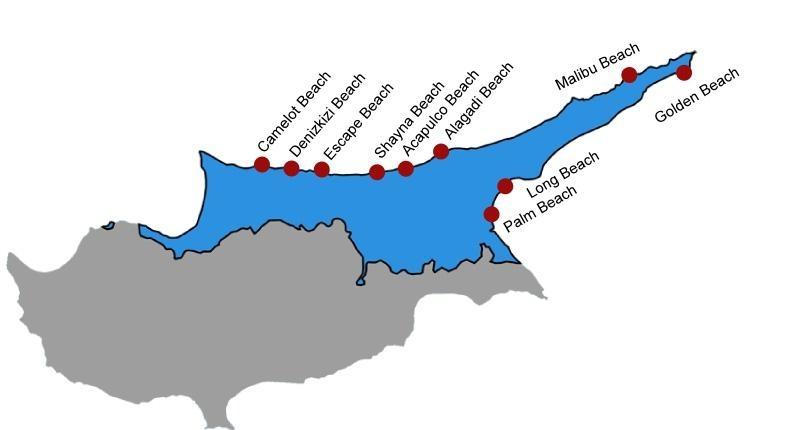 Пляжи Северного Кипра на карте