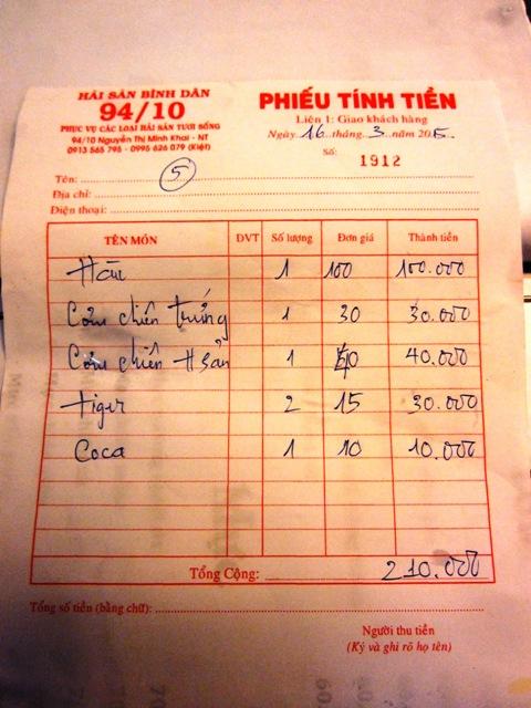 Цены в кафе в Нячанге