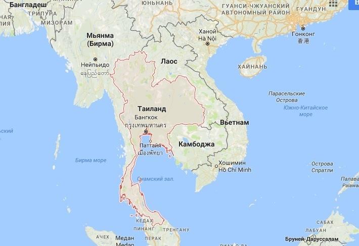 Таиланд и Вьетнам на карте