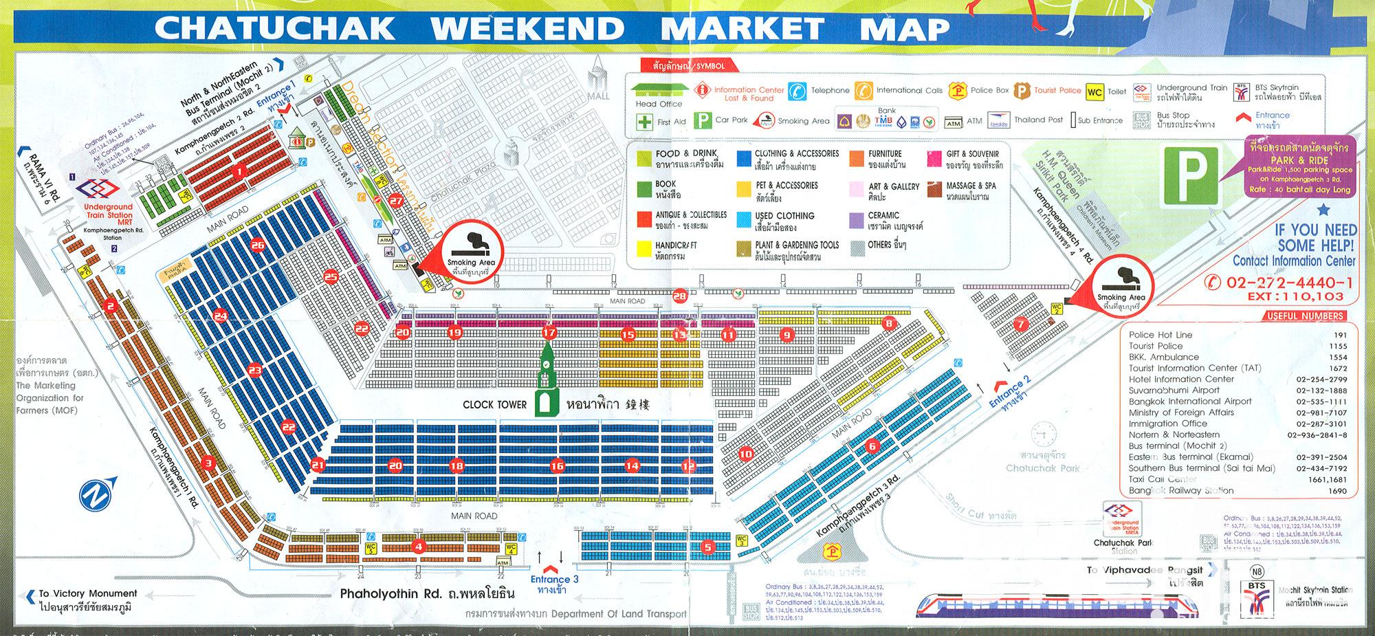 Карта рынка Чатучак в Бангкоке